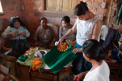 Shan women making decorations Royalty Free Stock Photography