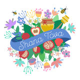 Shana Tova Happy New Year on hebrew. Greeting card for Jewish New Year with flowers and traditional elements of Holiday Rosh Hashanah vector illustration