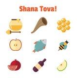 Shana Tova Rosh Hashanah, ensemble juif d'icône de vecteur de nouvelle année Photos stock
