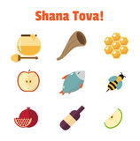 Shana Tova Rosh Hashanah, grupo judaico do ícone do vetor do ano novo Fotos de Stock
