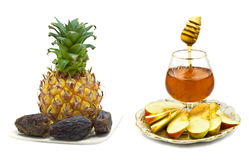 Shana tova ve metuka. Honey and apple are symbols of Jewish New Year (Rosh hashanah Stock Photography