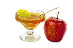 Shana tova vemetuka. Apple and honey are symbols of Jewish New Year (Rosh hashana Stock Photos