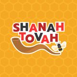 Shanah tovah means a good year and shofar horn Royalty Free Stock Image
