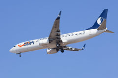 Shandong Airlines B-5111 Boeing 737-800 débarquant, Pékin, Chine Image libre de droits