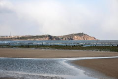 Shandong Penglai Penglai acht Unsterbliche, die den Seehafen fangen Stockbild