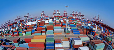 Shandong Qingdao Port Container Terminal Stock Photos