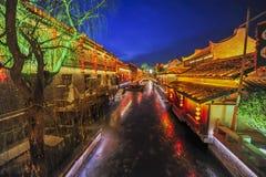 Shandong Zaozhuang Taierzhuang stadsnatt Fotografering för Bildbyråer