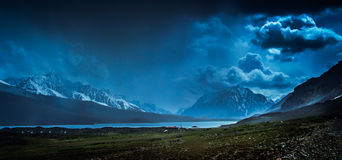 Shandur Pass at night Royalty Free Stock Photos