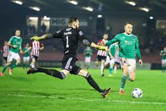 Shane Griffin at League of Ireland Premier Division match Cork City FC vs Derry City FC. March 1st, 2019, Cork, Ireland - Shane Griffin at League of Ireland royalty free stock images