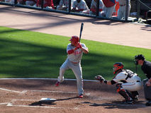 Shane Victorino lifts leg to help time Stock Images