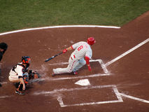 Shane Victorino makes contact with incoming pitch Stock Images
