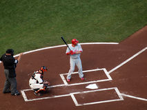 Shane Victorino waits on incoming pitch Royalty Free Stock Images