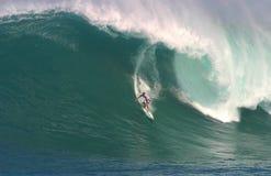 海湾多利安人的shane冲浪的waimea 免版税库存图片
