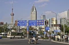 Shangai - Calle-escena Foto de archivo libre de regalías