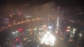 Shangai, China - 11 de septiembre de 2013: Vista a?rea del centro de negocios de Lujiazui, Shangai China almacen de metraje de vídeo