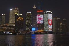 Shangai en la noche imagenes de archivo