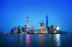 Shangai en la noche, China Fotos de archivo libres de regalías