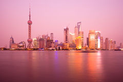 Shanghai. Skyline of Lujiazui and Pudong with the Oriental Pearl Tower, Jiinmao Tower and Shanghai World Financial Center (SWFC), across the Huangpu river Stock Photo
