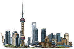 Shanghai. Illustration of the skyline of Shanghai, China royalty free illustration