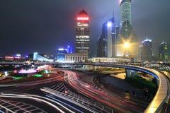 Shanghai. Dazzling rainbow overpass ring highway night scene in Shanghai Lujiazui Royalty Free Stock Image