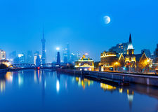 Shanghai. Beautiful Shanghai Pudong skyline at dusk Stock Photography