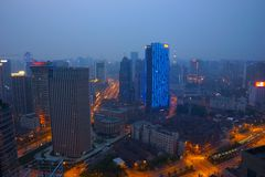 Shanghai aerial at dusk Royalty Free Stock Images