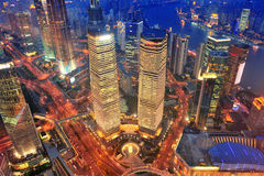 Shanghai aerial at dusk Royalty Free Stock Photography