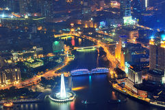 Shanghai aerial at dusk Royalty Free Stock Photo