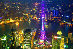 Shanghai aerial night view Royalty Free Stock Image