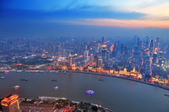 Shanghai aerial at sunset Stock Image