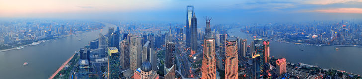 Shanghai aerial at sunset Stock Images