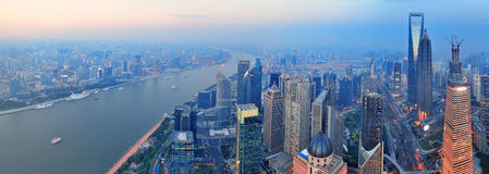 Shanghai aerial at sunset Royalty Free Stock Photo