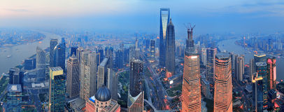 Shanghai aerial at sunset. Shanghai aerial view with urban architecture and sunset panorama
