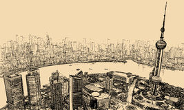 Shanghai - aerial view above the river. Vector illustration - aerial view of Shanghai above the river vector illustration