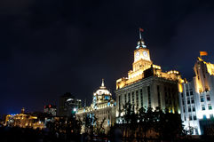 Shanghai architecture. Clock tower night scene this place is located at The bund Shanghai Royalty Free Stock Images