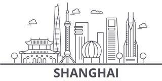 Shanghai architecture line skyline illustration. Linear vector cityscape with famous landmarks, city sights, design Stock Photo