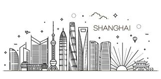Shanghai architecture line skyline illustration. Linear vector cityscape with famous landmarks. Outline Shanghai Skyline with Modern Buildings. Vector vector illustration