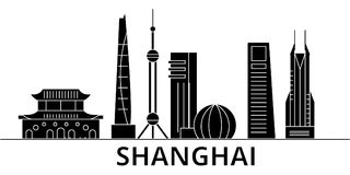 Shanghai architecture vector city skyline, travel cityscape with landmarks, buildings, isolated sights on background Royalty Free Stock Photos