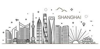 Shanghai arkitekturlinje horisontillustration Linjär vektorcityscape med berömda gränsmärken Arkivbild
