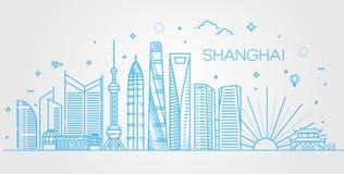 Shanghai arkitekturlinje horisontillustration Linjär vektorcityscape med berömda gränsmärken Royaltyfri Foto