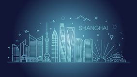 Shanghai arkitekturlinje horisontillustration Linjär vektorcityscape med berömda gränsmärken Arkivbilder