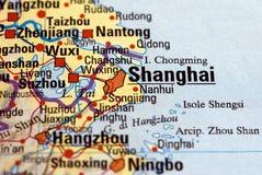 Shanghai auf der Karte Lizenzfreie Stockfotografie
