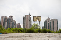 Shanghai: basketball court lying waste Royalty Free Stock Photography