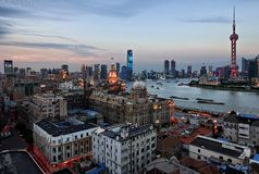 Shanghai Bay. Dusk View of Shanghai and its mother river `Huangpu River Royalty Free Stock Photography