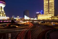 Shanghai bij nacht Stock Foto