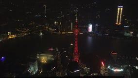 Shanghai bij nacht Geschoten op Canon 5D Mark II met Eerste l-Lenzen stock footage