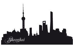 Shanghai black silhouette Stock Images