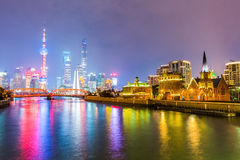 Shanghai bonito na noite Fotografia de Stock