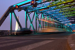 Shanghai Bridge traffic at dusk Royalty Free Stock Images