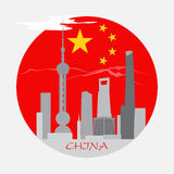 Shanghai buildings on China flag Royalty Free Stock Photography
